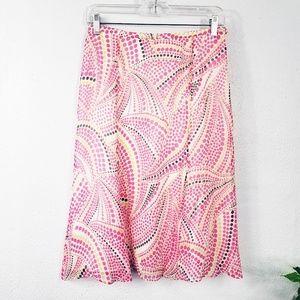 Talbots Pure Silk Pink Dot Flare Skirt